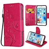 i-Dawn Premium Wallet Leather Flip Protective Case with Wristlet Lanyard and Kickstand for Apple iPhone 6/6S (4.7 inch) Rose