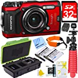 Olympus TG-5 12MP Digital Camera with 4x Optical Zoom F2.0 Hi-Speed Lens (Red) Plus 32GB Dual Battery Bundle