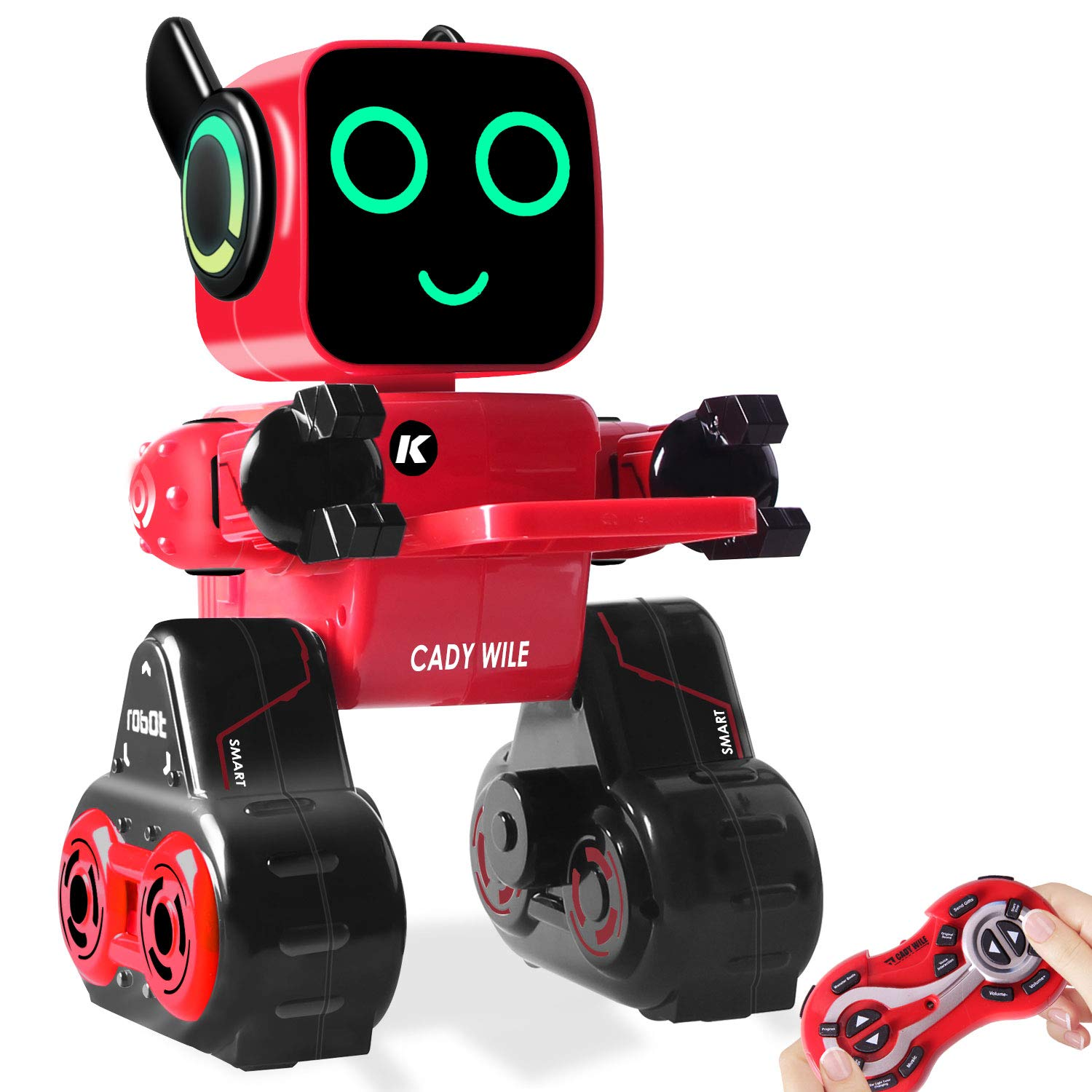 IHBUDS Programmable Remote Control Toy Robot for Kids,Touch & Sound Control, Speaks, Dance Moves, Plays Music. Built-in Coin Bank.Rechargeable RC Robot Kit for Boys, Girls All Ages-Red/Black by IHBUDS (Image #1)