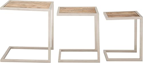 Deco 79 Stainless Steel Wood Nesting Tables Set of 3 , 15 18 21