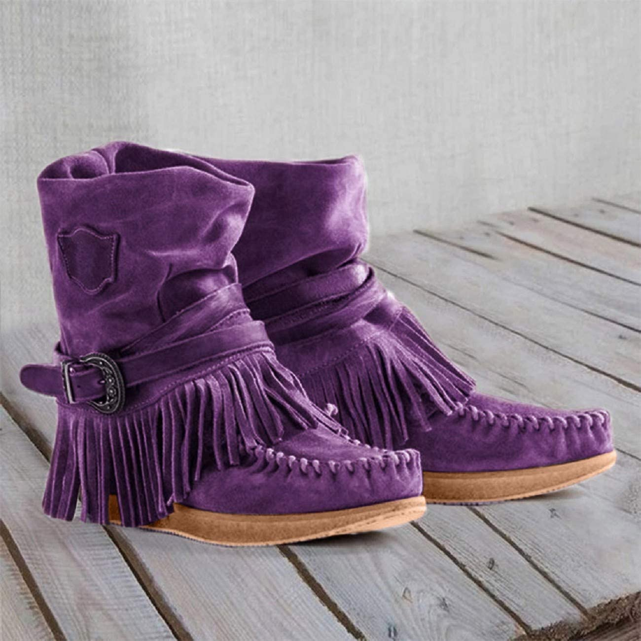 Womens Moccasins Ankle Boots,Tsmile Retro Chic Suede Adjustable Buckle Round Toe Tassel Fringe Flat Short Boots