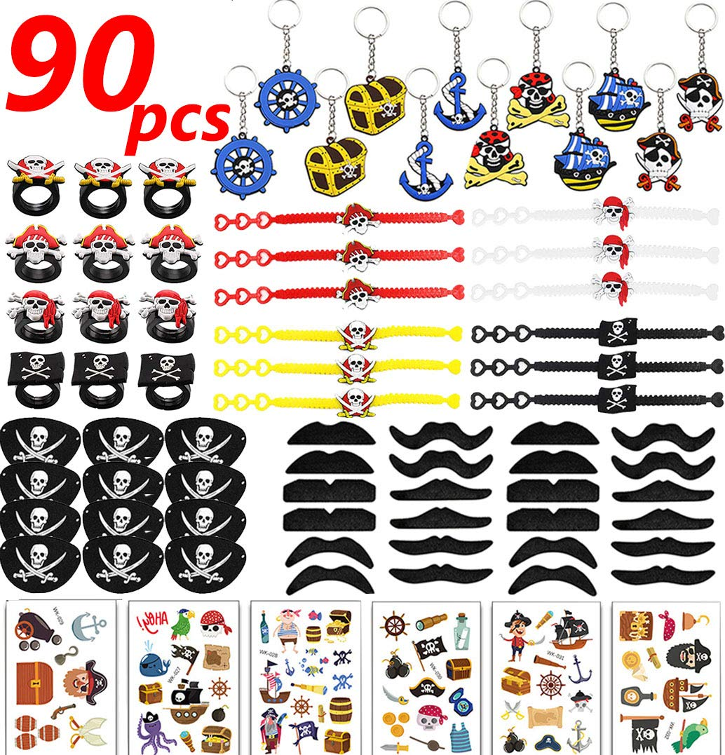 90Pcs Pirate Party Supplies Favors Pirate Captain Eye Patches Fake Mustache Pirate Key Chain Rubber Rings Bracelets Pirate Temporary Tattoos for Kids Pirate Theme Birthday Bag Fillers Toys Halloween Pirate Party Favor Decor
