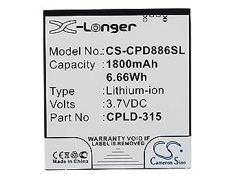 1800 mAh batería para VODAFONE 889N Smart 4 Turbo Smart 4 G (10 piezas): Amazon.es: Electrónica