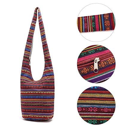SimpleLife Mujeres Sling Cross Body Bag Lona de algodón Hippie Bolsas de Hombro Slouch Cross Body Boho Hippy Fringe Monederos Bolso étnico Bolso de ...