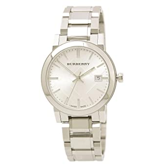 4ecd39199fd1 Amazon.com  Burberry Men s BU9000 Large Check Stainless Steel ...