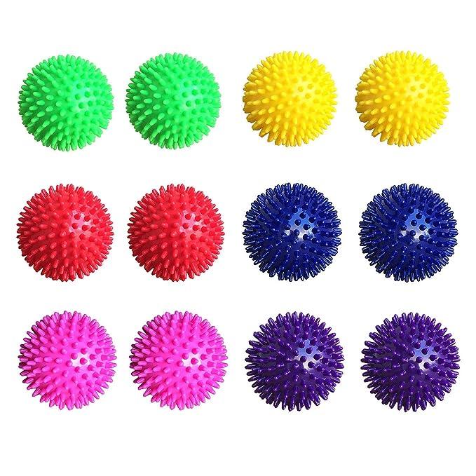 6 Farben je 2 Stück Igelball Massageball Noppenball 8cm 12er-Set