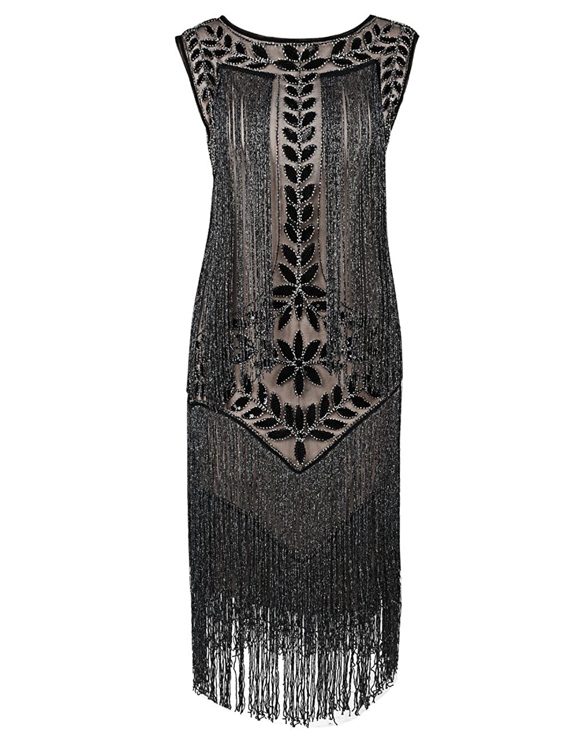 Sequin beads. Imported Zipper closure 1920s Style Gatsby Dress with  flattering drop waist design. Boat neck f363275847d4