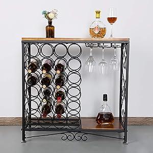 BENOSS Vintage Wine Glass Holder 24 Bottles Industrial Wine Storage Organizer Display Rack, Vintage Wine Glass Holder, Freestanding Wine Rack Table Bar, Wine Cabinet for Kitchen