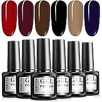 TOMICCA Gel Nail Polish Set Soak Off UV LED 6 Red Purple Blue Fall Winter Colours Gel Nail Polish Soak Off UV LED Nail…