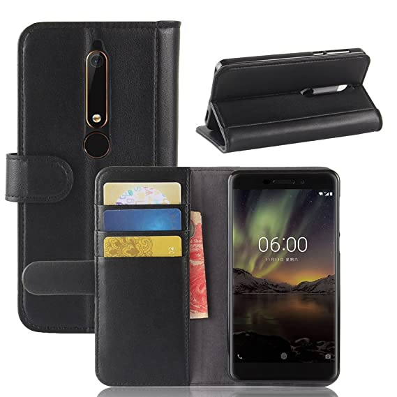 free shipping e9411 31015 Nokia 6.1 Case,Nokia 6 2018 Case,Mangix Genuine Leather Wallet Card Slots  Series Secure Magnetic Closure Stand Feature Luxury Flip Case for for Nokia  ...