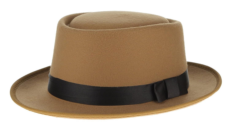 Gemvie Men Plain Roll -up Wool Felt Porkpie Fedora Hat
