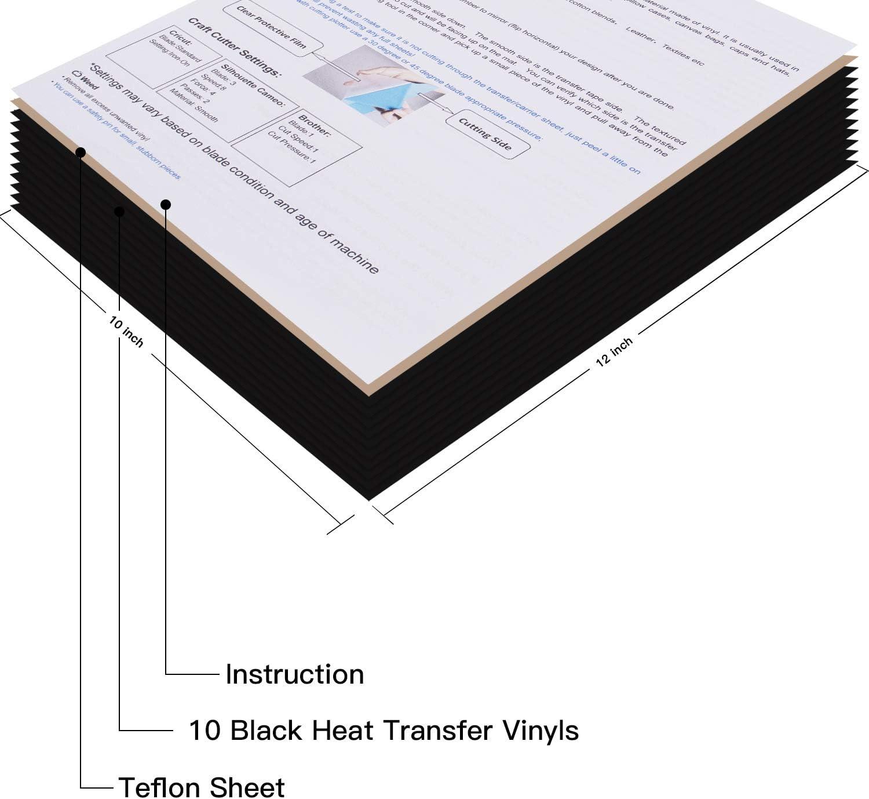 Paquete de vinilo de transferencia de calor HTV: paquete de 25 hojas de colores surtidos de 30,5 x 25,4 cm, vinilo para Cricut & Silhouette Cameo, teflón adicional para máquina de prensa