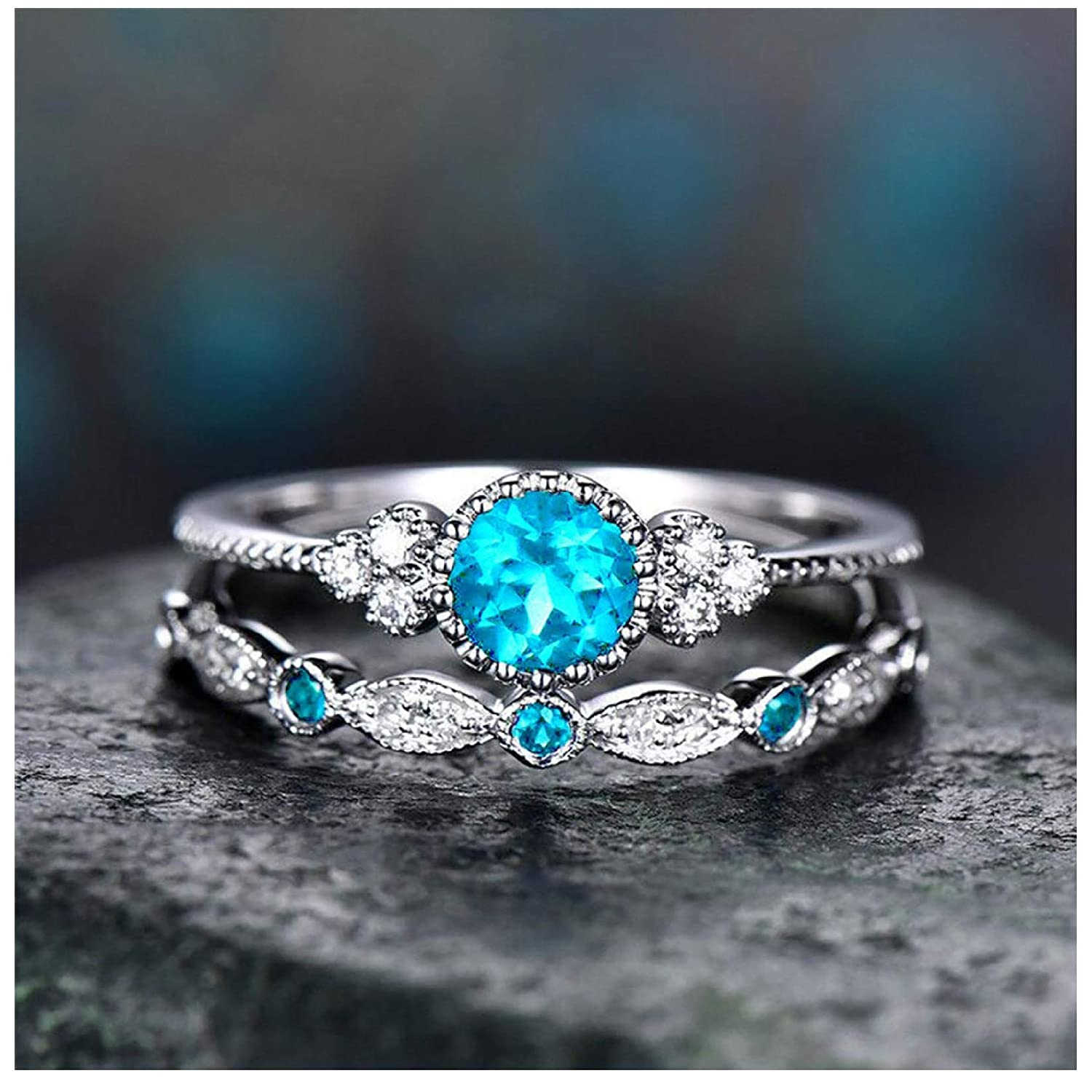 925 Sterling Silver Zircon Stone Ring,Personalized Shiny Full Diamond Women Wedding Engagement Bridal Band Ring, Mother's Day Gift, Couple Ring Jewelry Size 5-12 (6, 004: Couple Ring - Sky Blue 2PC)