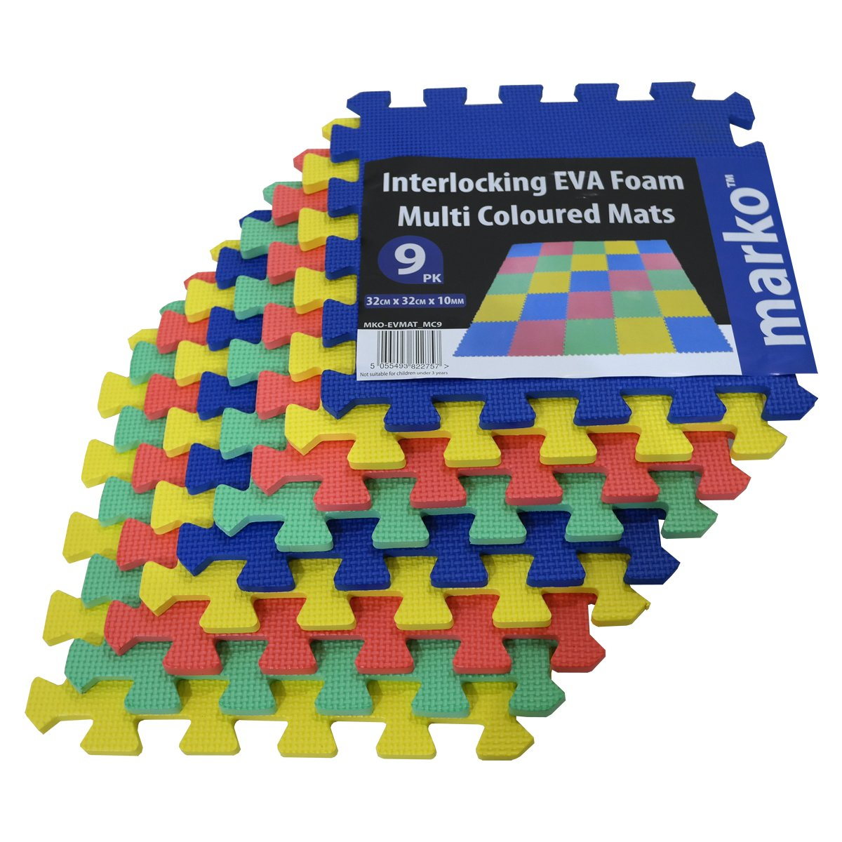 100 SQ FT / 9.2M² / 90 Pack Interlocking EVA MultiColoured Soft Foam Baby Child Play Area Yoga Exercise Mats Marko