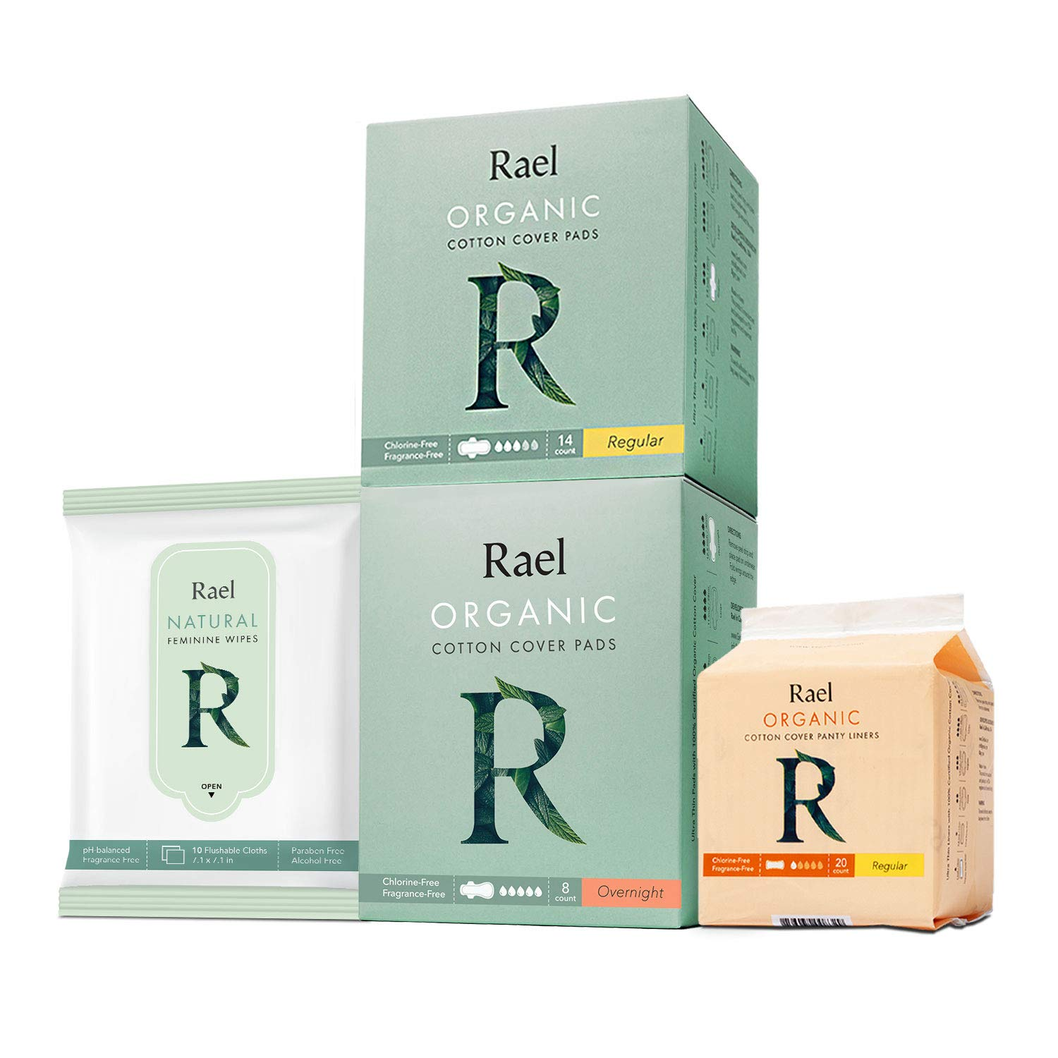Rael Organic Pads Value Packs-Organic Cotton Regular Pads, Overnight Pads, Regular Liners and Natural Feminine Wipes by Rael (Overnight Set) by Rael