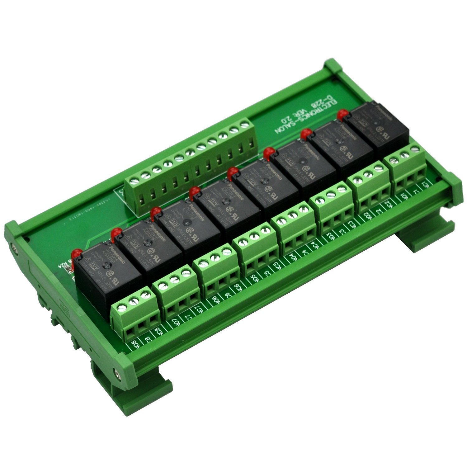 ELECTRONICS-SALON DIN Rail Mount 8 SPDT Power Relay Interface Module, 10A Relay, 5V Coil.