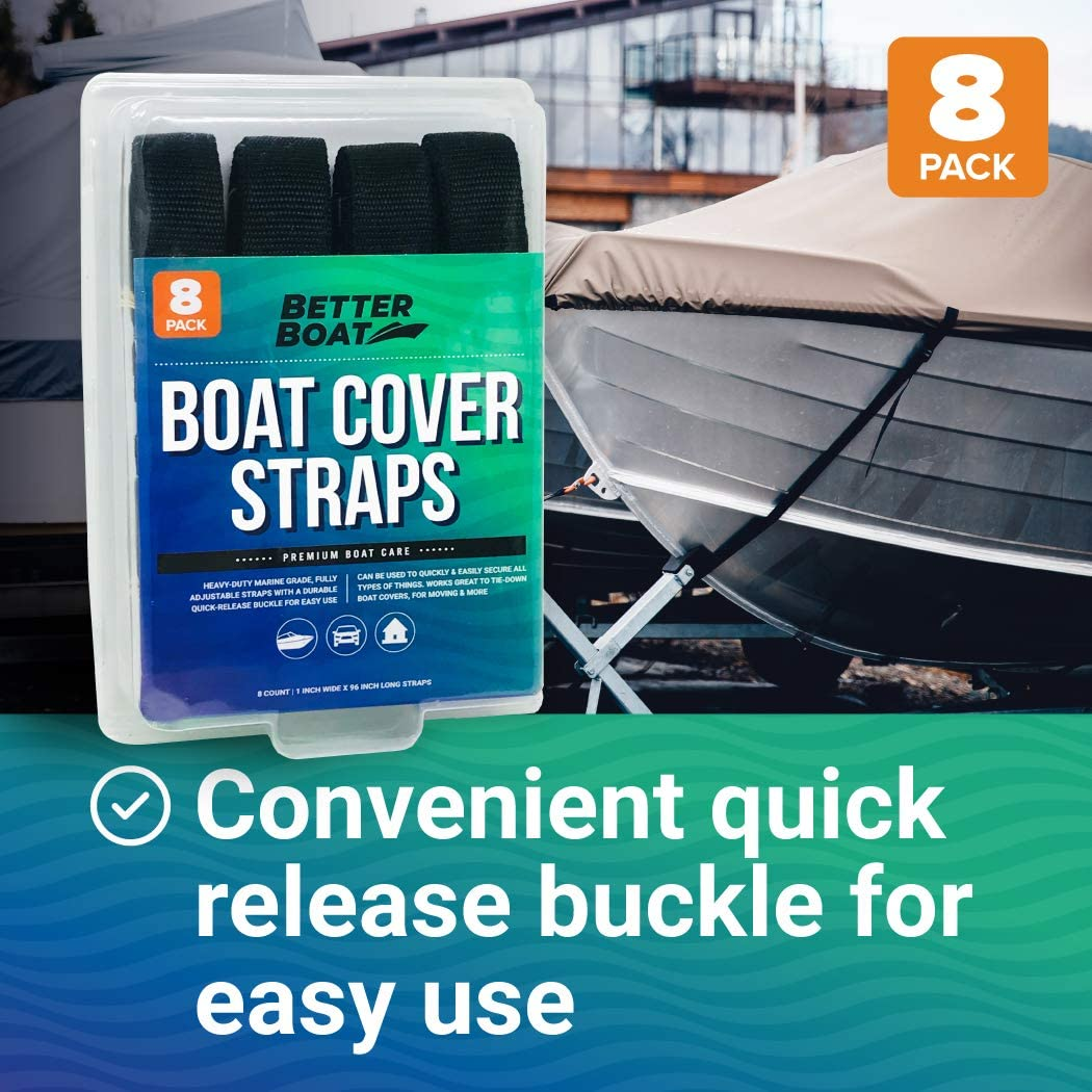 Boat Cover Straps Adjustable Buckle Straps 8 Pack Simple Strap for Securing 1 x 96