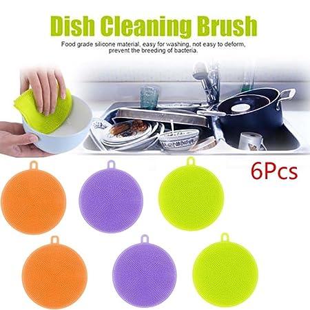 samLIKE 6Pcs Silikon Teller waschender Schwamm Wäscher Küche Reinigungs antibakterielles Werkzeug (blau)