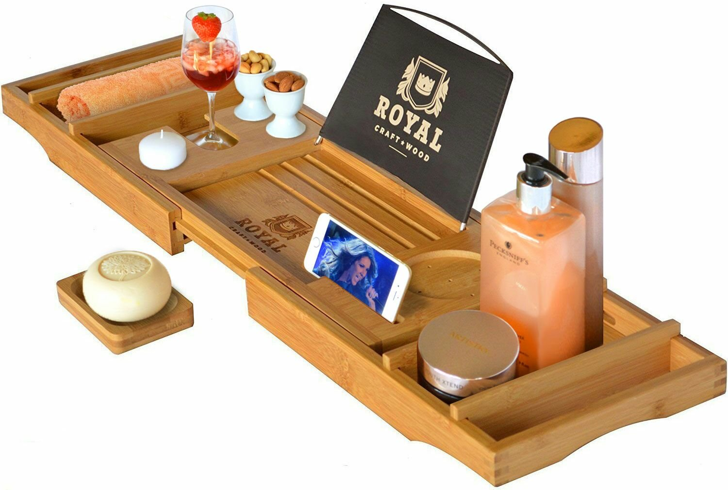 Royal Craft Wood Luxury Bathtub Caddy Tray, One or Two Person Bath and Bed Tray, Bonus Free Soap Holder (Natural Bamboo Color) RCW-01