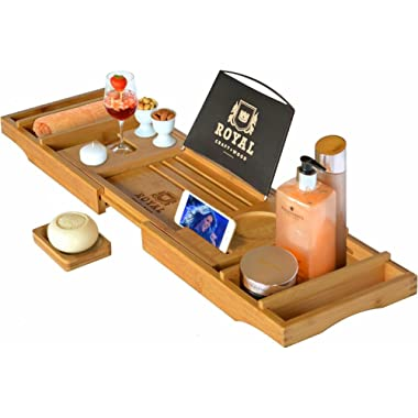 Royal Craft Wood Luxury Bathtub Caddy Tray, One or Two Person Bath and Bed Tray, Bonus Free Soap Holder (Natural Bamboo Color)