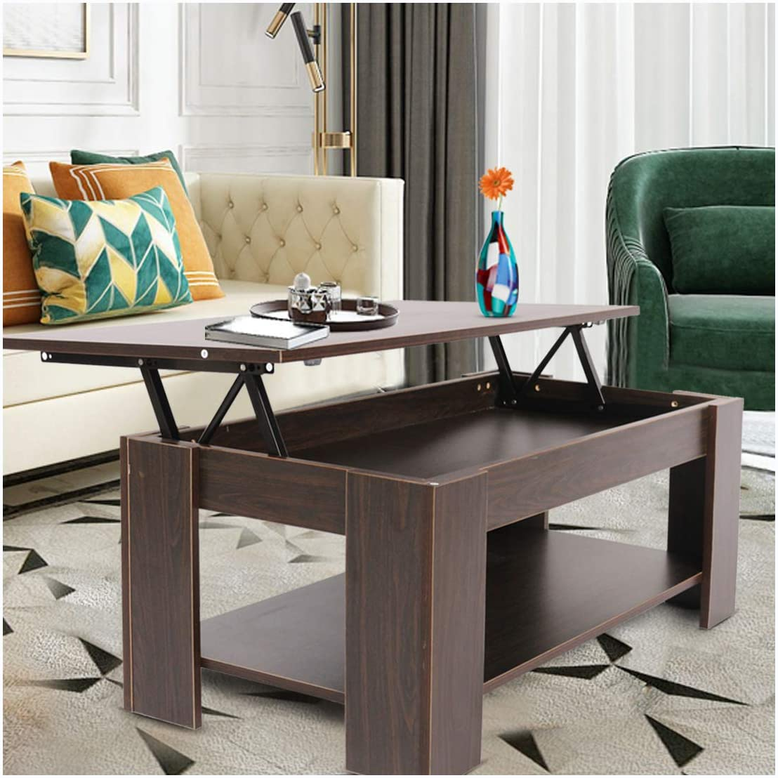 WoodPod Adjustable Lift Top Coffee Table with Pop-Up Hidden Compartment and Storage Shelves, Cocktail Table for Living Room and Reception Room, Espresso Brown