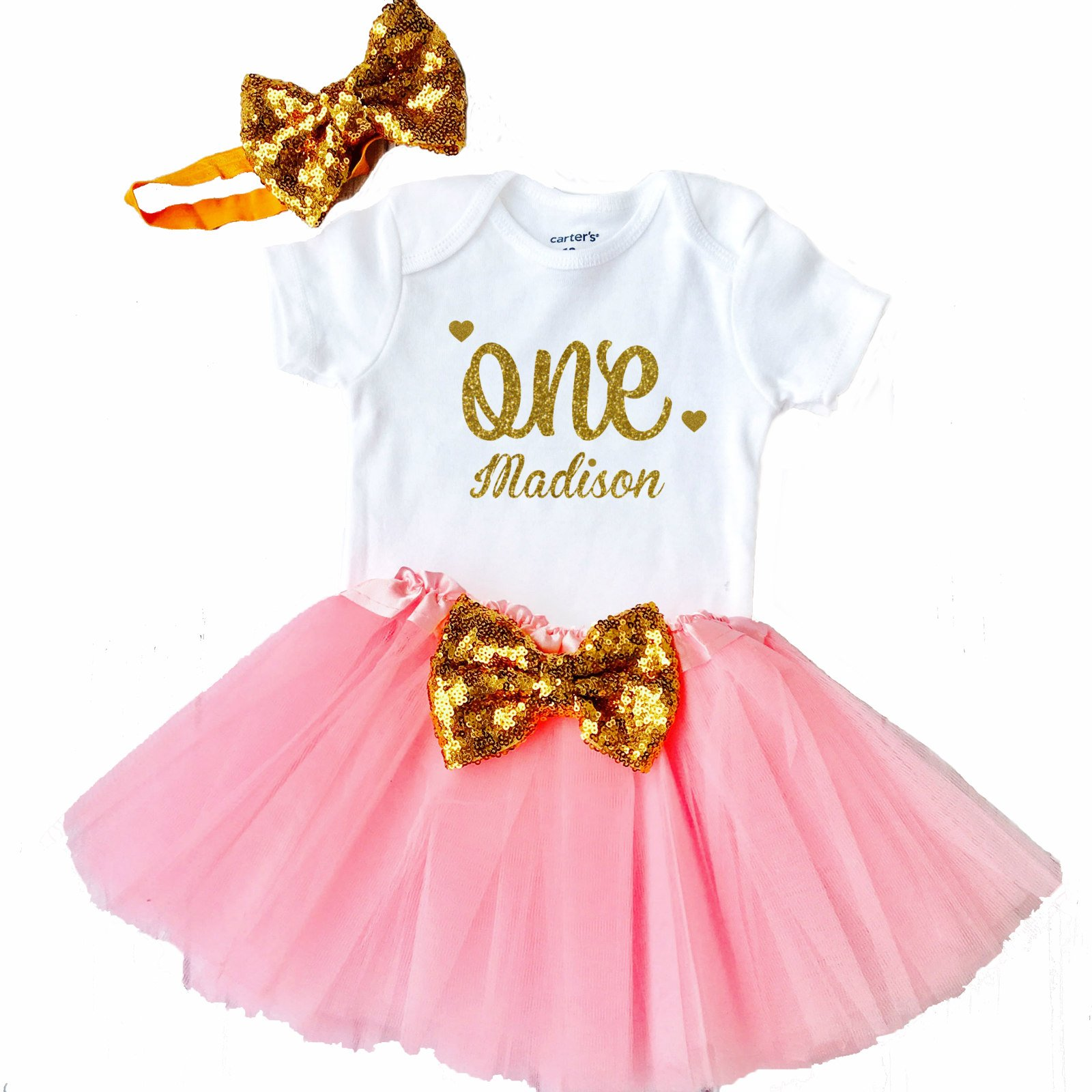 Personalized Baby Girls 1st Birthday Outfit, 1st Birthday Gift, First Birthday Outfit - Sparkly Gold One Design (18 Month, Light Pink) by Funmunchkins
