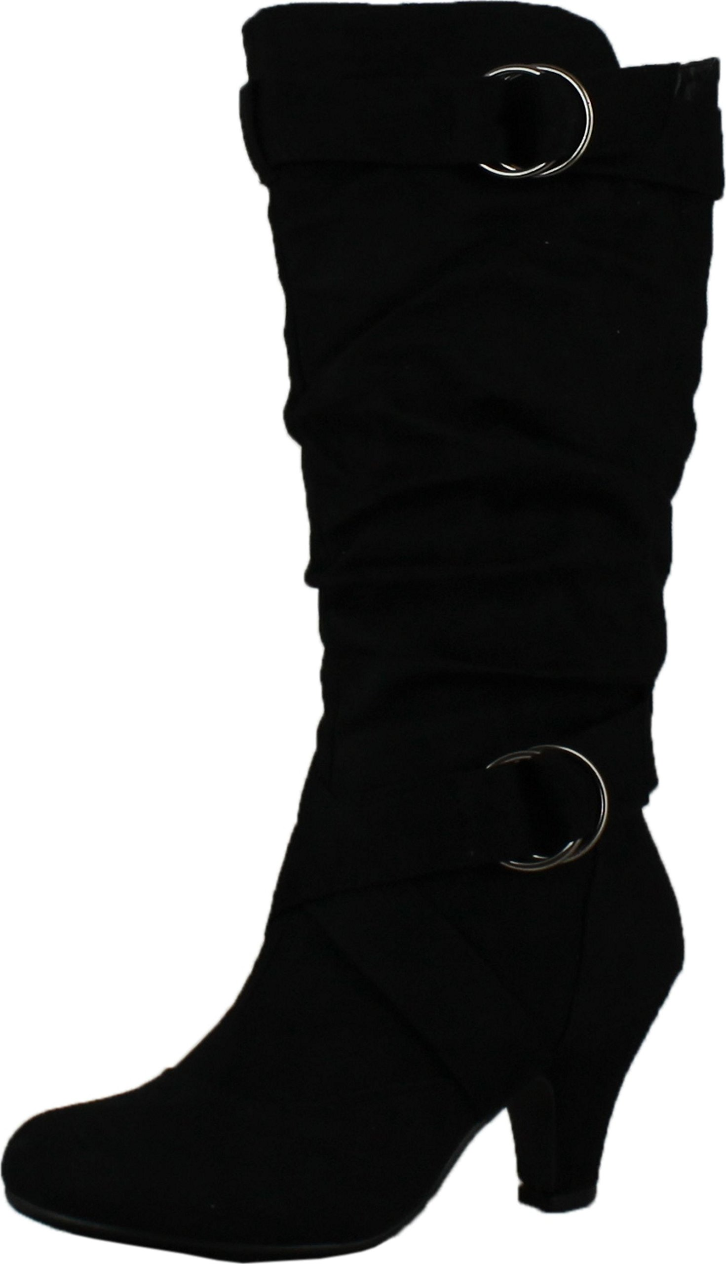 CC Maggie-38 Women Knee High Kitty Heels Wide Shaft Boots,Black,6