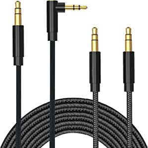TERSELY 3.5mm Gold-Plated Auxiliary Audio Cable Aux Cord, [2 PACK] 1M/3FT 90 Degree Right Angle + Straight Nylon Braided Male to Male for iPhone,iPod,iPad,2018 Mac Mini,Car Home Stereos,Speaker & More