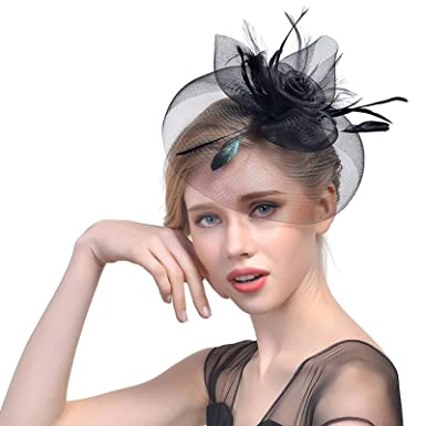 2f94fb56 WELROG Women's Vintage Flower Feather Mesh Net Fascinator Hat Party Wedding  Cocktail Sinamay (Black)