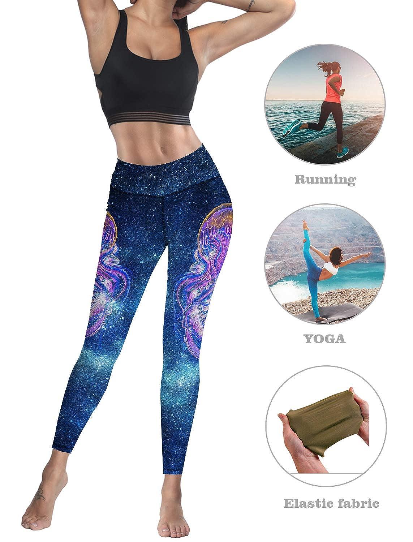 Custom Leggings Women High Waist Soft Yoga Workout Stretch Printed Galaxy Jellyfish Stretchy Capris Pants