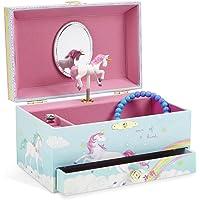 JewelKeeper Girl's Musical Jewelry Storage Box Pullout Drawer, Rainbow Unicorn Design,Somewhere Over The Rainbow Tune