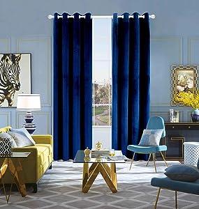 Velvet Curtains Navy 95 INCH Soft Luxury Blue Window Blackout Curtains Drapes Grommet 2 Panels (Navy, W52'' X L95'')