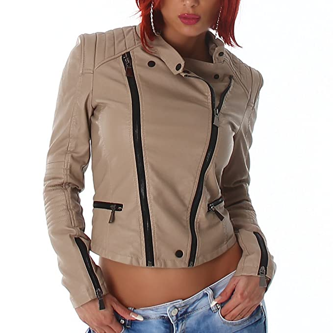 giacca donna similpelle beige