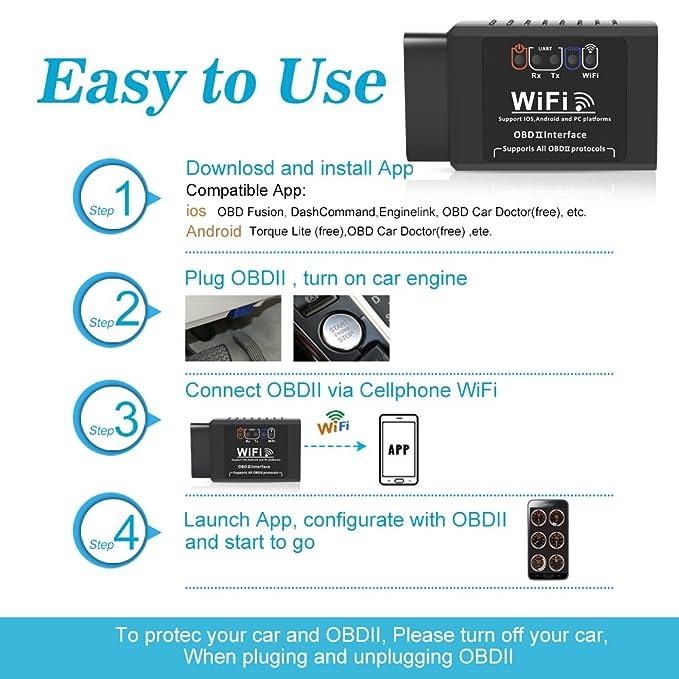 QHUI WiFi OBD2 Escáner, Wireless Mini OBDII Auto Coche, Herramienta de Análisis de Diagnostico Can-Bus, Lector de Código Diagnóstico a Bordo para Apple ...