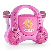 auna Rockpocket • Kinder Karaoke Set • Karaoke Anlage • Karaoke Player • CD-Player • Stereolautsprecher • programmierbar • Wiederholfunktion • Batteriebetrieb möglich • 2 x dynamisches Mikrofon • pink