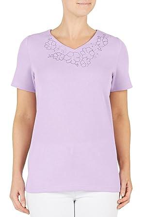 a48ba279763d64 UKMiniMarket Damen T-Shirt Violett Fliederfarben  Amazon.de  Bekleidung