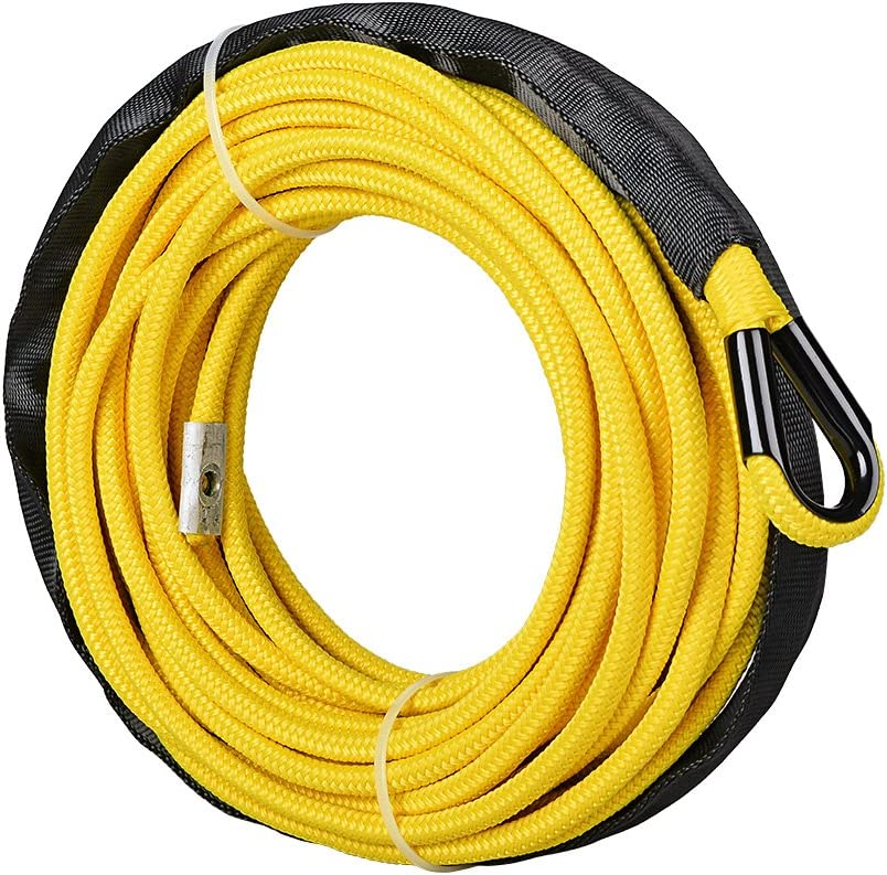 w//Rope Only, Yellow 1//4 x 50 Synthetic Winch Line Cable Rope 7000 LBs w//39 Rock Guard Sheath ATV UTV SUV Off-Road Ramsey