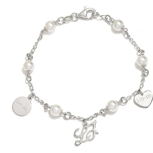 bracciale in argento con perle  Amazon.it  Gioielli 3062d205078
