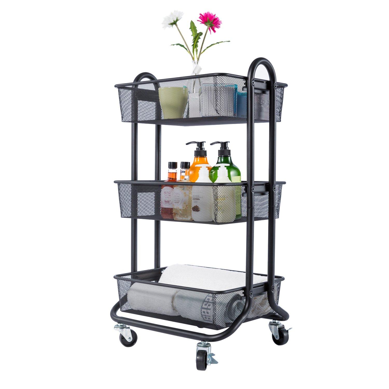 Designa 3-Tier metal Utility Rolling handle mesh Storage Cart Ideal for Bed room Kitchen Bathroom Garage Office Arts and Crafts or Nursery (Black)