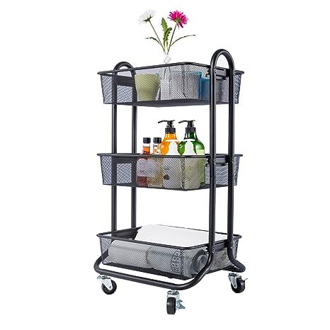 DESIGNA 3-Tier Metal Mesh Rolling Storage Cart with Utility Handle Black  sc 1 st  Amazon.com & Amazon.com : DESIGNA 3-Tier Metal Mesh Rolling Storage Cart with ...