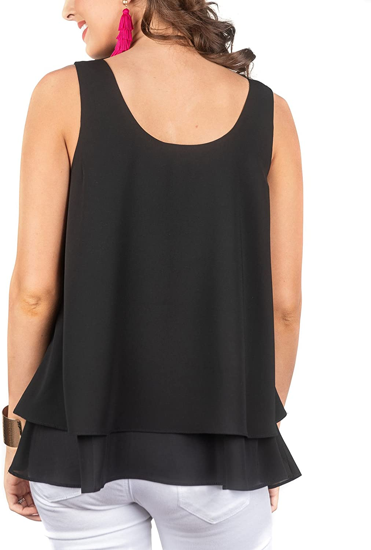 Benficial Womens Summer Ruffles Fashion Chiffon O-Neck Tanks Camis Sleeveless Tops Blouse 2019 Summer New