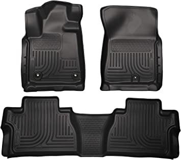 Full Set Liners Rear Unique Black TPE All-Weather Guard Includes 1st and 2nd Row: Front oEdRo Floor Mats Compatible for Toyota Tundra 2014-2020 Double Cab//Crew Max Cab