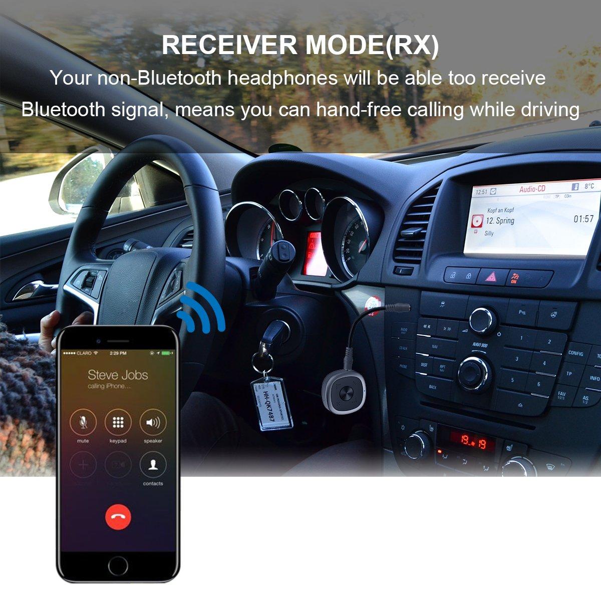 INKERSCOOP Adaptateur Bluetooth 4.2 Récepteur Audio Bluetooth Transmetteur Récepteur Stéréo 2 en 1 avec 3.5mm Audio Câble pour Casque Haut-Parleur Radio TV PC Ordinateur Portable Tablet MP3 MP4 Téléphone retard zero Prend en charge APTX, AP