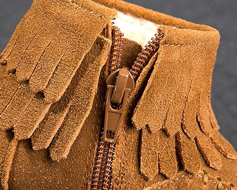 iDuoDuo Girls Tassels Mocassin Fashion Boots Zipper Fur-Lined Martens Flat Casual Boots Toddler//Little Kid