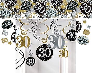 Festefeiern Deckenhanger Swirl Und Tischkonfetti Zum 30 Geburtstag