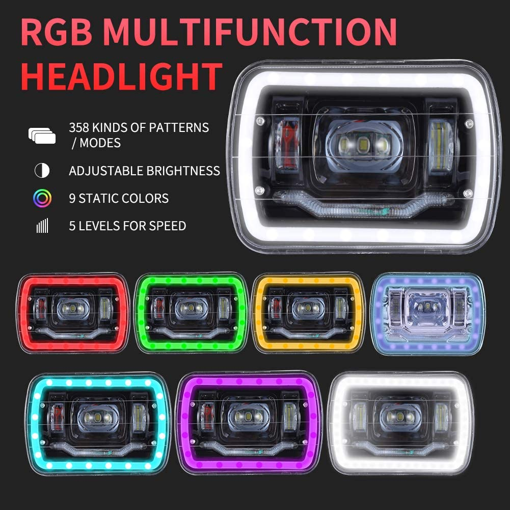 7X6 Headlights Black RGB MULTI COLOR LED SMD Halo 7X6 H6014//H6052//H6054 SET PAIR LOW HIGH BEAM SEALED