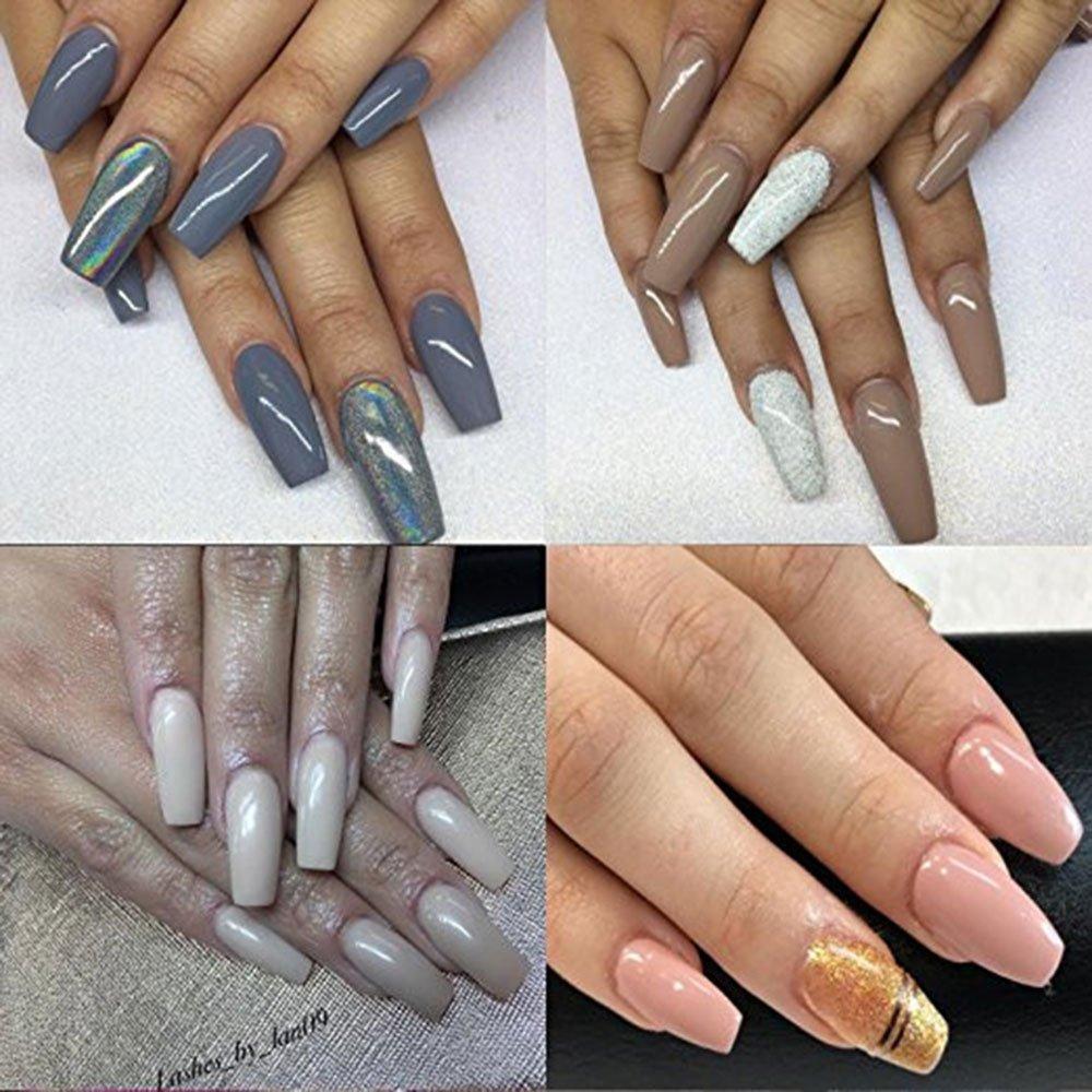 Puntas de Uñas Postizas de Stiletto, Leegoal Ballerina Natural Coffin uñas de cubierta completa falsas uñas artificiales, 10 tamaños para salones de uñas y ...