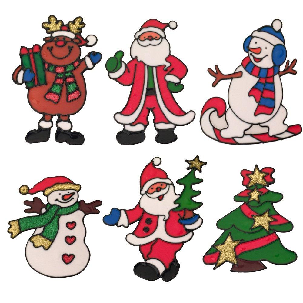 クリスマスオーナメント3d PVCウィンドウClingsステッカー、ガラスドア&ウィンドウRepositionableハンドクラフトステッカーデカールホームオフィスの、クリスマスショップ部屋装飾サンタ 6 Pack LC-WS01 B074PXWQ7C 6 Pack