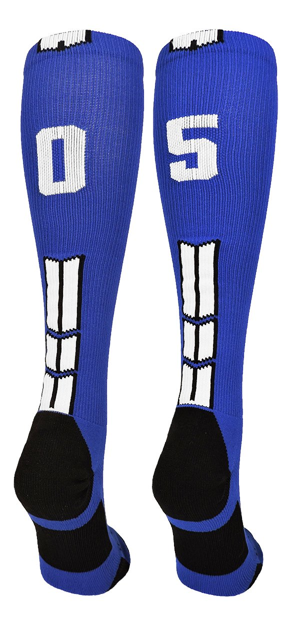 MadSportsStuffロイヤル/ホワイトPlayer IDカスタムover the calf Socks数(ペア) B07B7HFKQL Medium|#05 #05 Medium