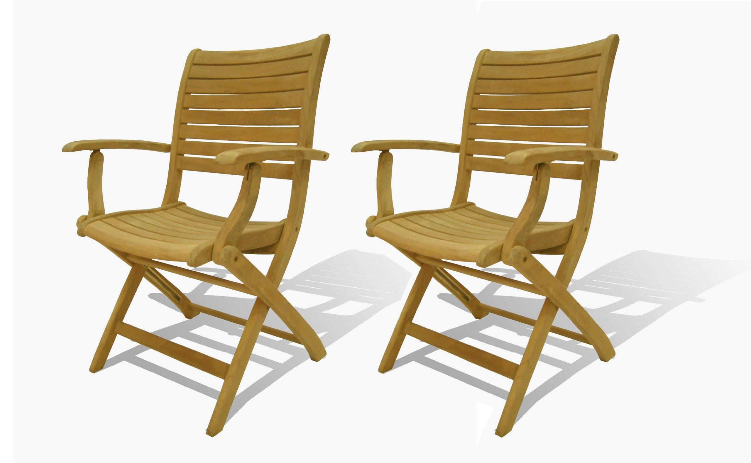 Amazonia Teak Dublin 2-Piece Teak Folding Armchairs